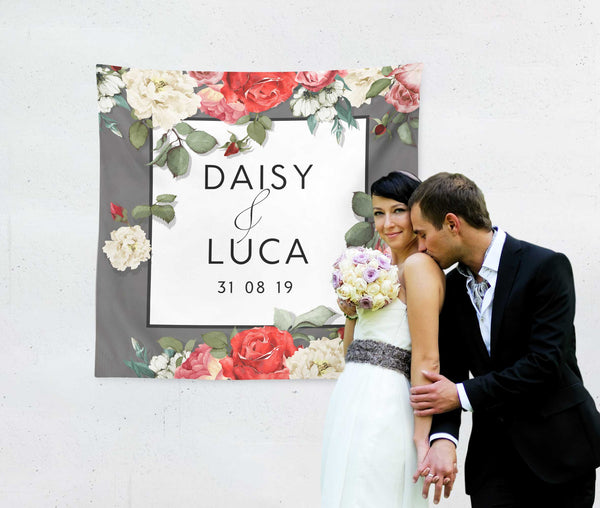 Watercolour Roses Wedding Backdrop