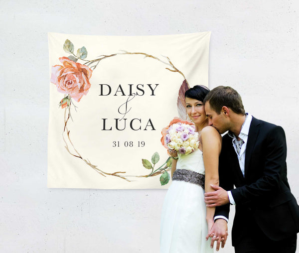 Rose Wreath Wedding Backdrop