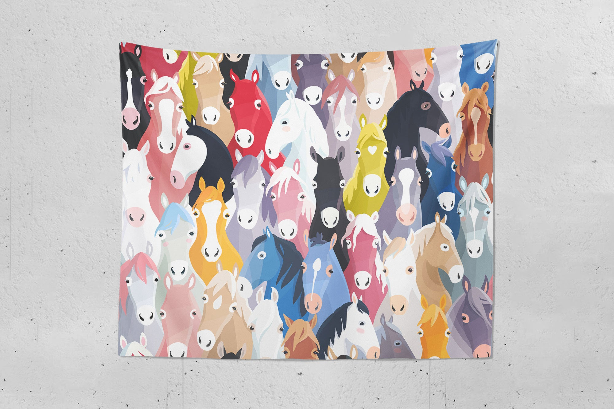 Cartoon Horses Wall Tapestry