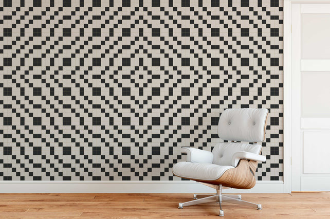 Chequer Geometric Wallpaper Mural living room