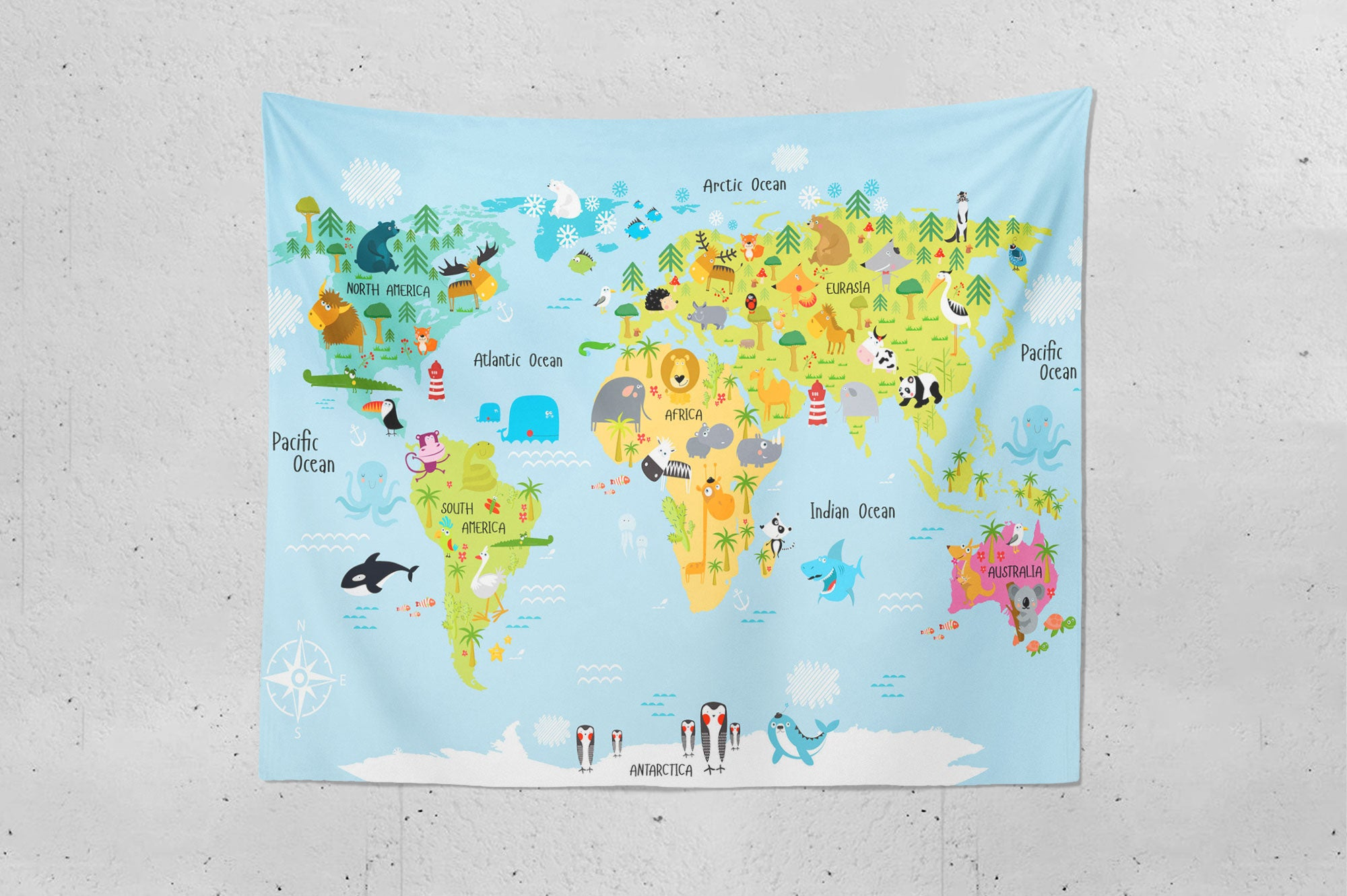 Children's Map Of The World Tapestry flat