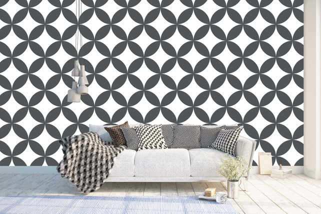 Circles geometric Wallpaper Mural living room