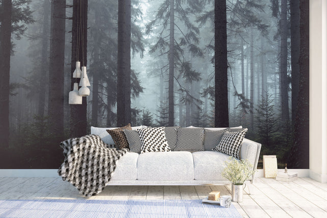 Cold Forest Wallpaper Mural Sofa