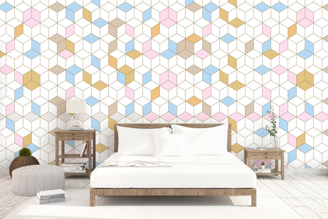 coloured squares bedroom