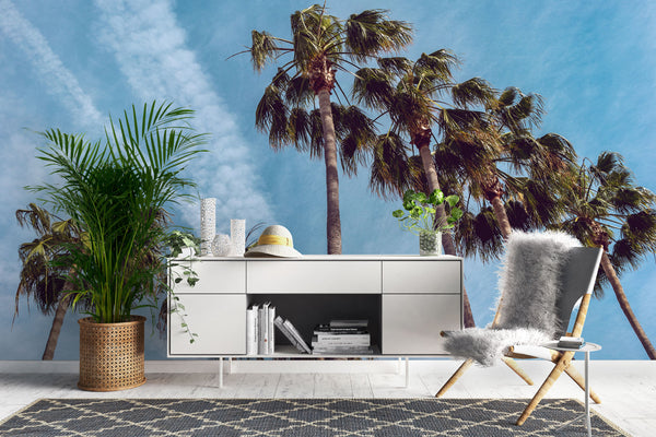 Downtown Palm Trees Wallpaper Mural bed