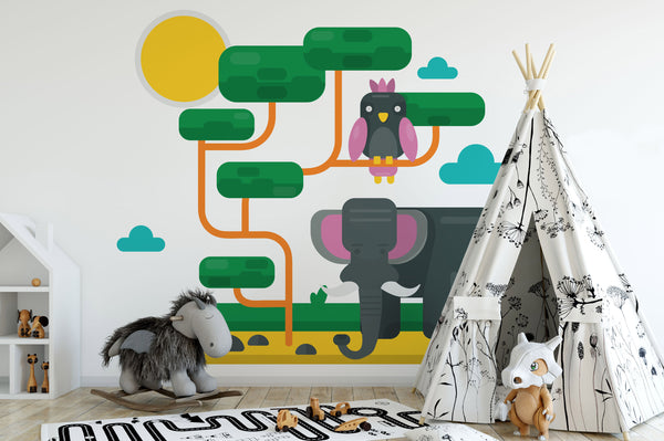 Elephant Animals Kids Wallpaper Mural bedroom