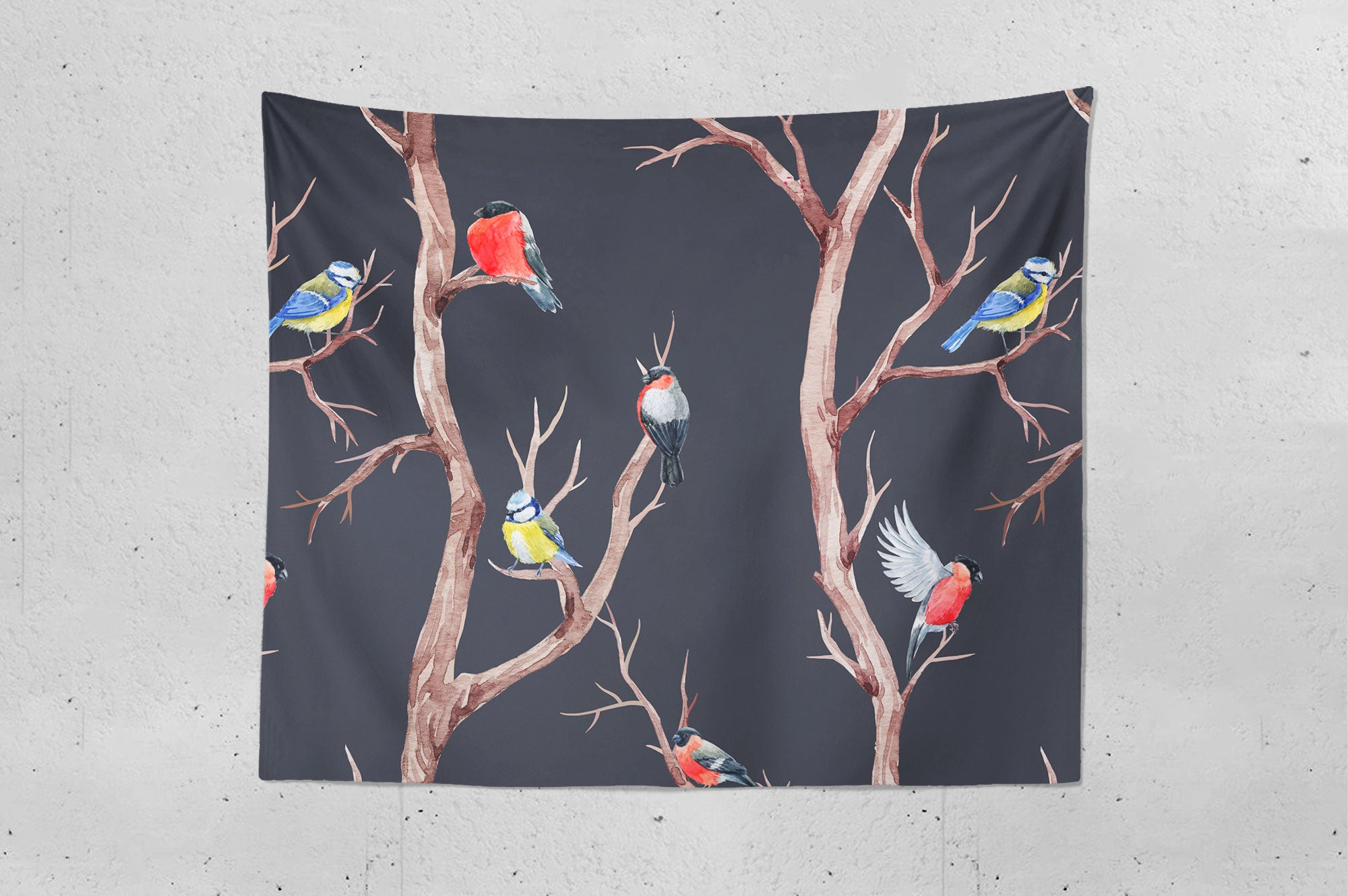 Fall Trees And Birds Wall Tapestry