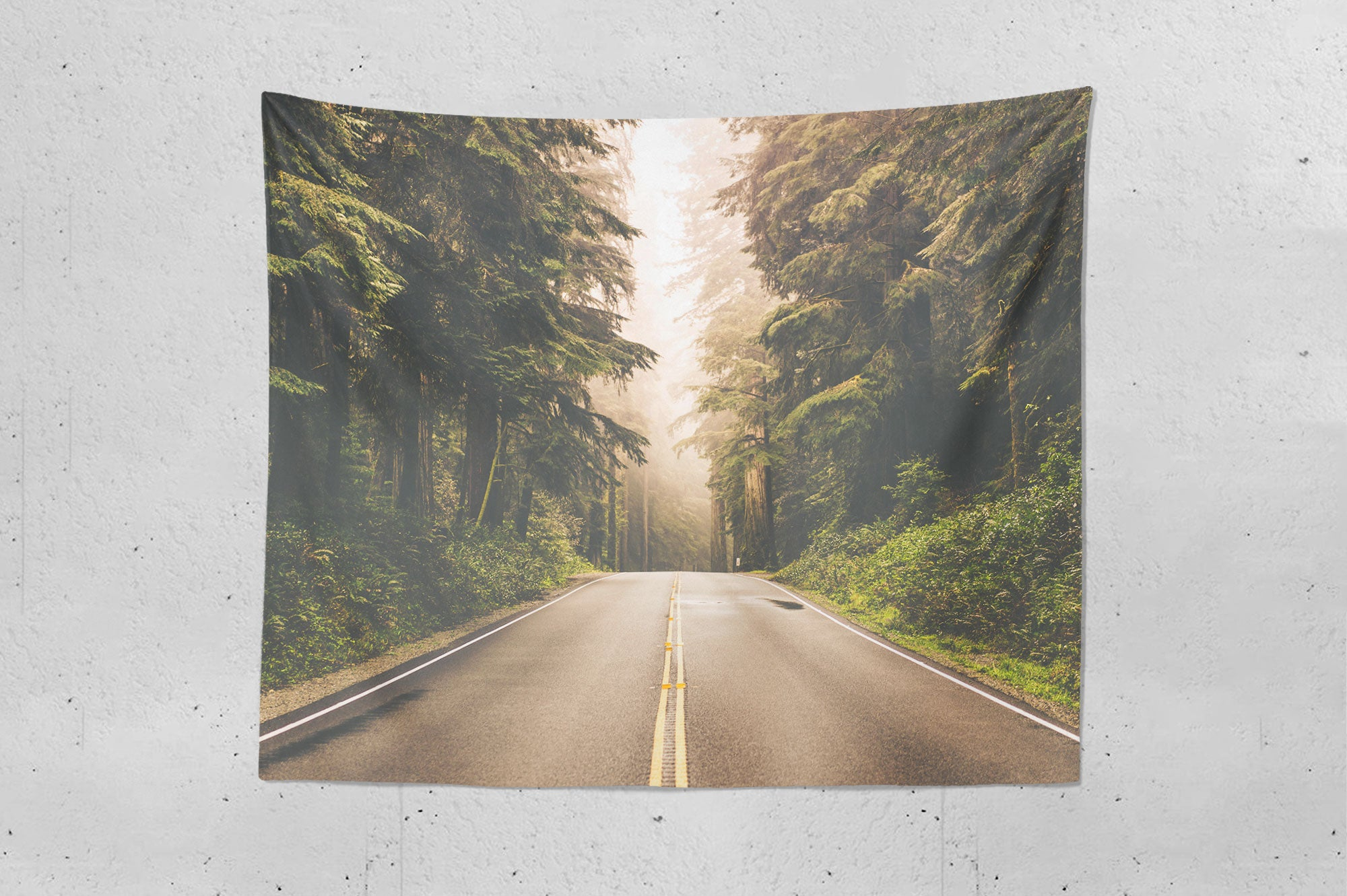Foggy Forest Highway Wall Hanging Tapestry