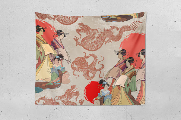 Geisha And Dragons Wall Hanging Tapestry