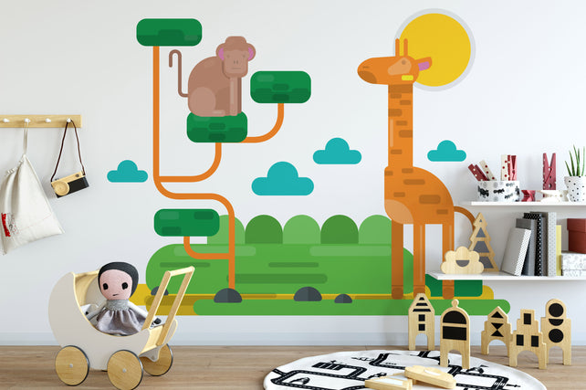 Giraffe Animals Kids Wallpaper Mural bedroom