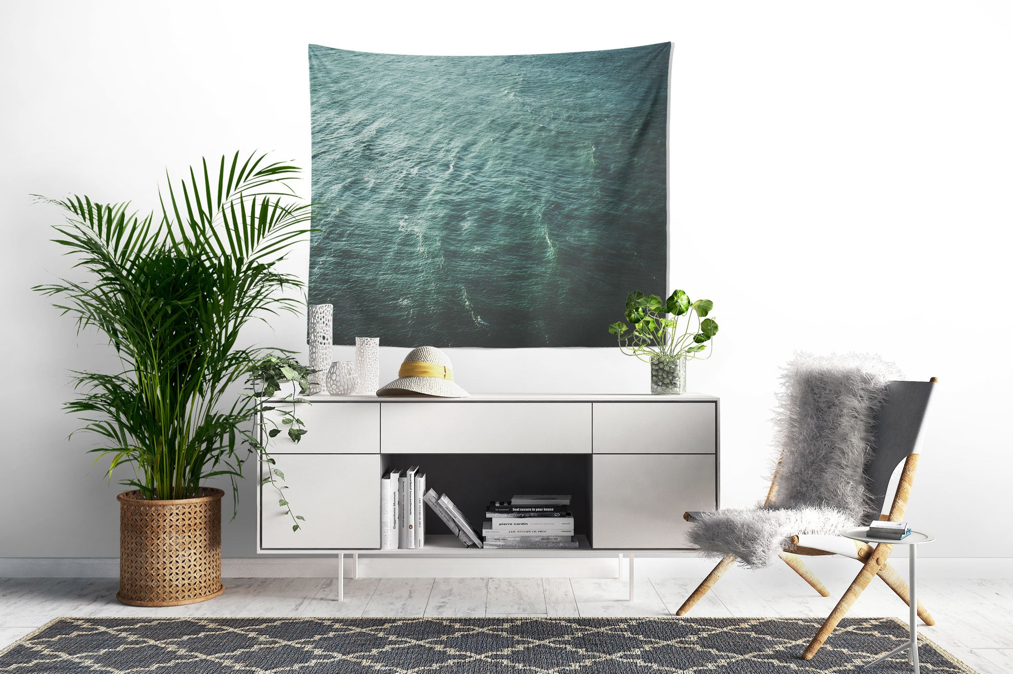 Green Waves Wall Tapestry desk