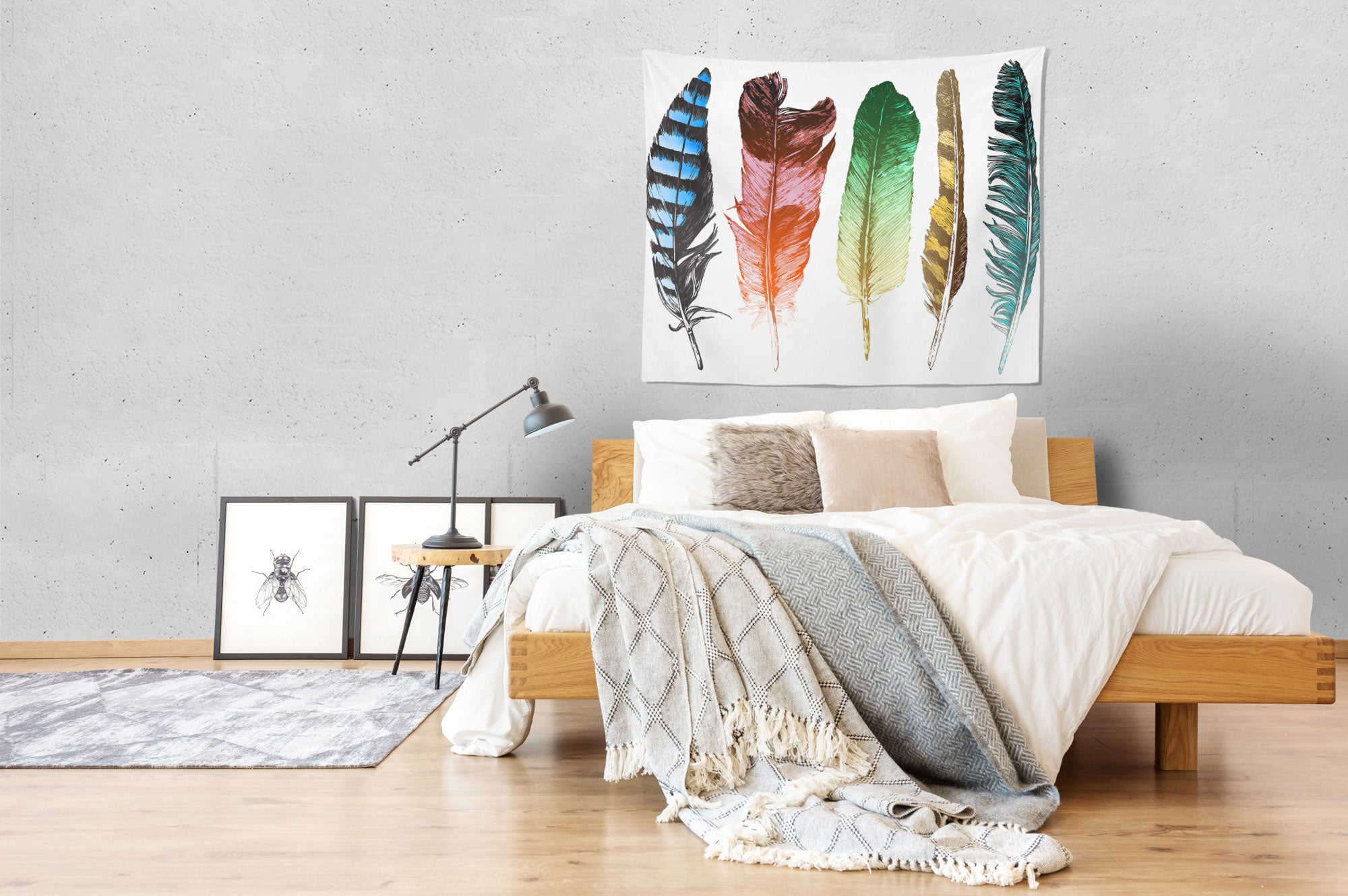 Hand Drawn Feathers Wall Tapestry Bed