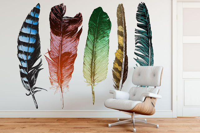 Hand Drawn Feathers Chair