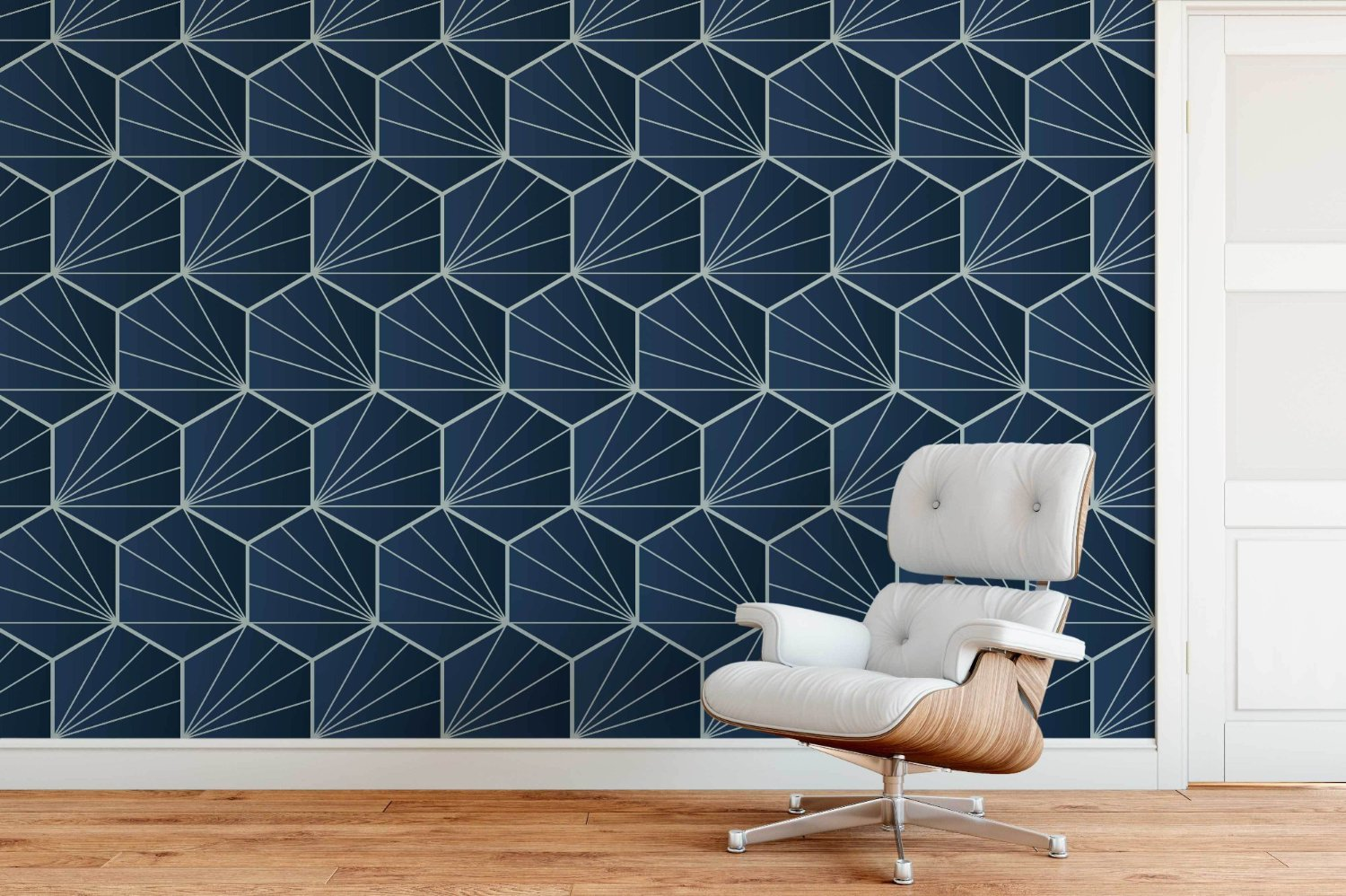 Hexagon Geometric Wallpaper Mural lounge