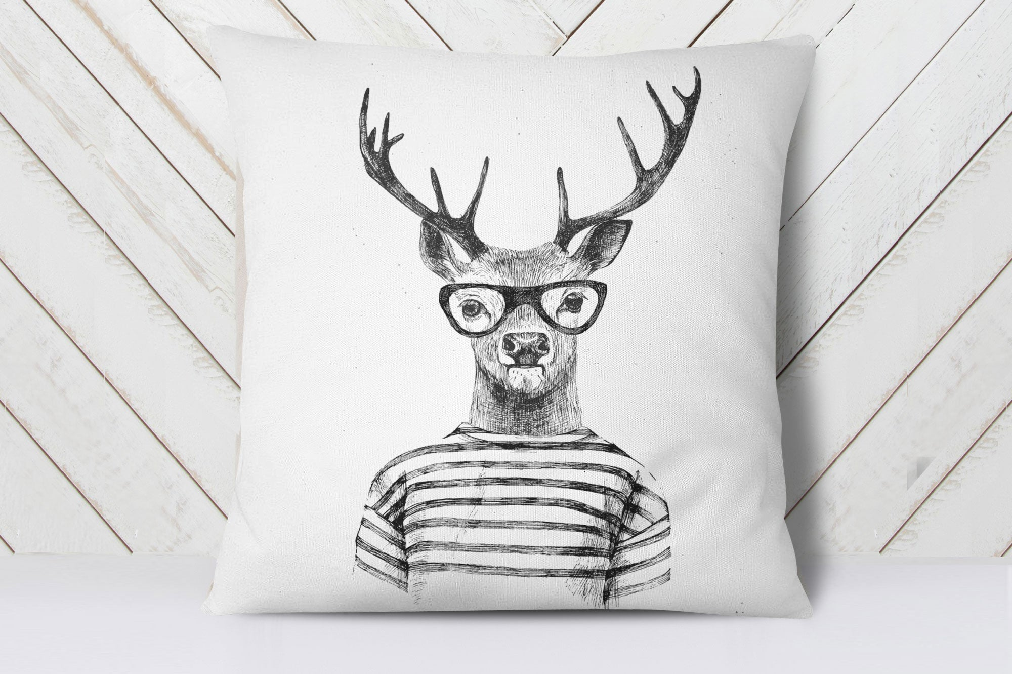 Hipster Deer Cushion Cover