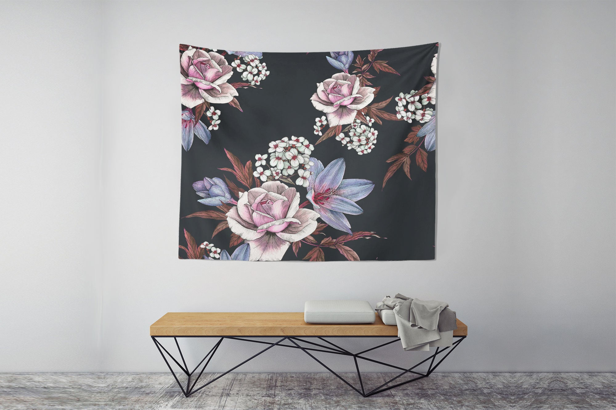 Ink Flowers Wall Tapestry table