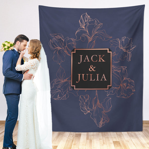 Floral Rose Gold Wedding Backdrop