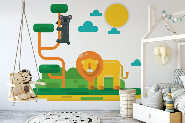 Lion Animals Kids Wallpaper Mural bedroom