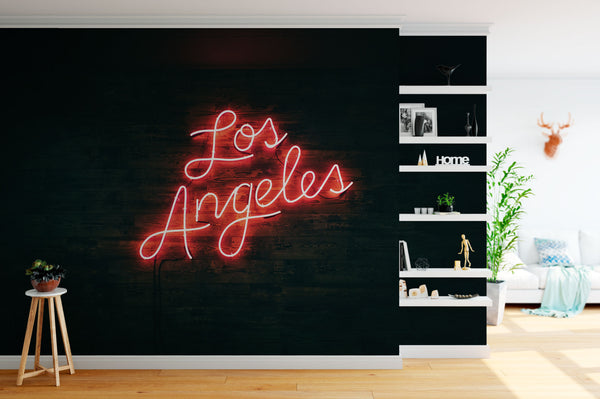 Los Angeles Neon Wallpaper Mural Desk