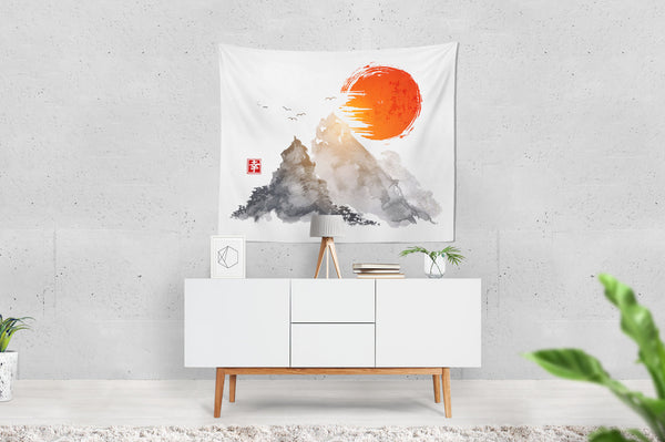 Mountains And Red Sun Wall Hanging Tapestry