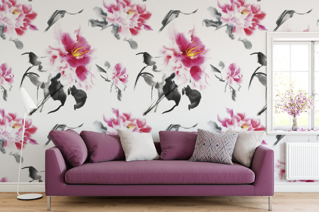 Peonies Chair Wallpaper Mural