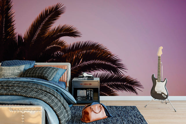 Pink Palm Tree Wallpaper Mural table