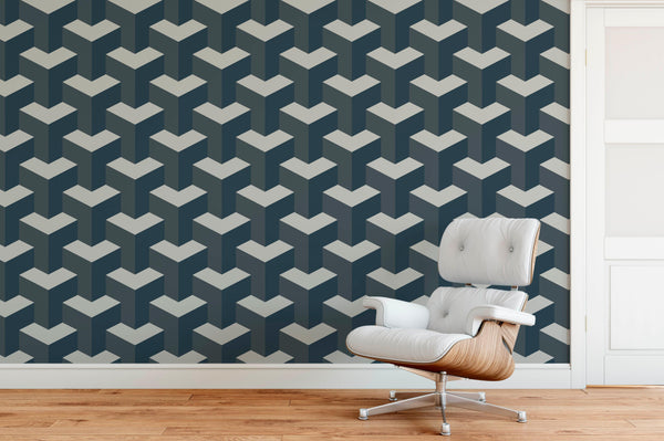 Steps Geometric Wallpaper Mural chair