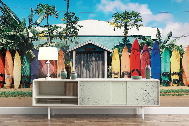 Surfboard House Ocean Wallpaper Mural Table