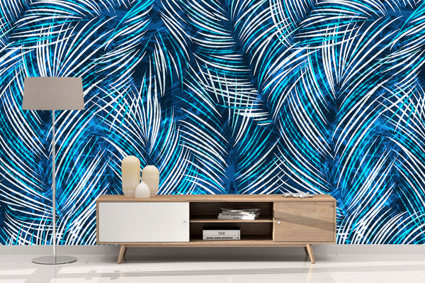 Tropical Blue Palm Leaves