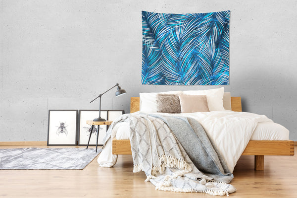 Tropical Blue Palm Leaves Wall Tapestry