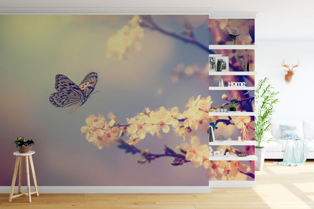 Vintage Butterfly With Flowers hallway