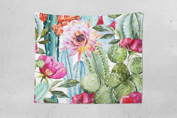 Watercolor Cactus Wall Tapestry