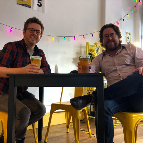 Brothers and Hoppily founders, Mark and Chris, enjoying a pint in the Hoppily Leigh-on-Sea Craft Beer Tap Room