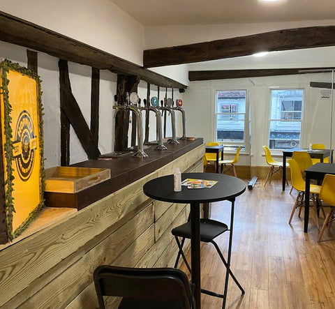 Hoppily Craft Beer Tap Room in Chelmsford. Upstairs seating with beers on tap.