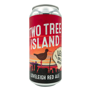 Two Tree Island Vegan Red Ale Craft Beer from Leigh on Sea Brewery, brewed in Leigh-on-Sea Essex  bright red 440ml Can