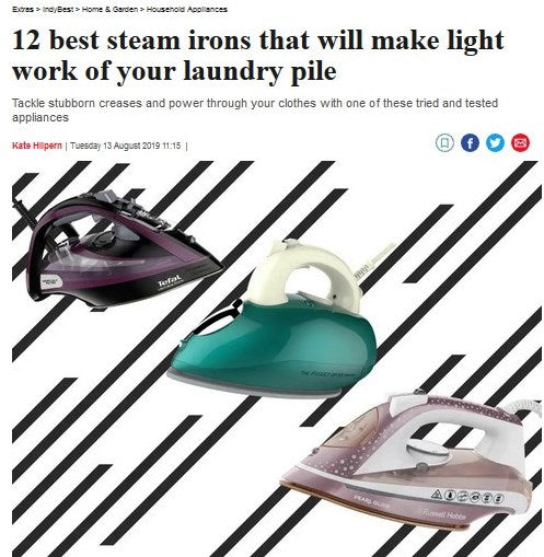 THE INDEPENDENT: 12 BEST STEAM IRONS THAT WILL MAKE LIGHT WORK OF YOUR LAUNDRY PILE