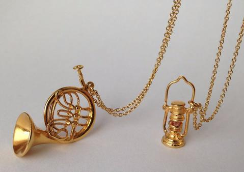 Alex Monroe miniature french horn and lantern