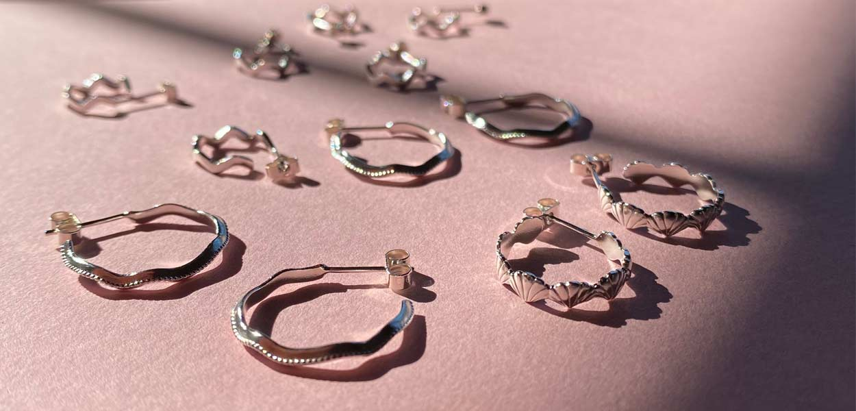 Some of our favourite styles and shaped earrings; wiggles, zig zags and scalloped edge hoops