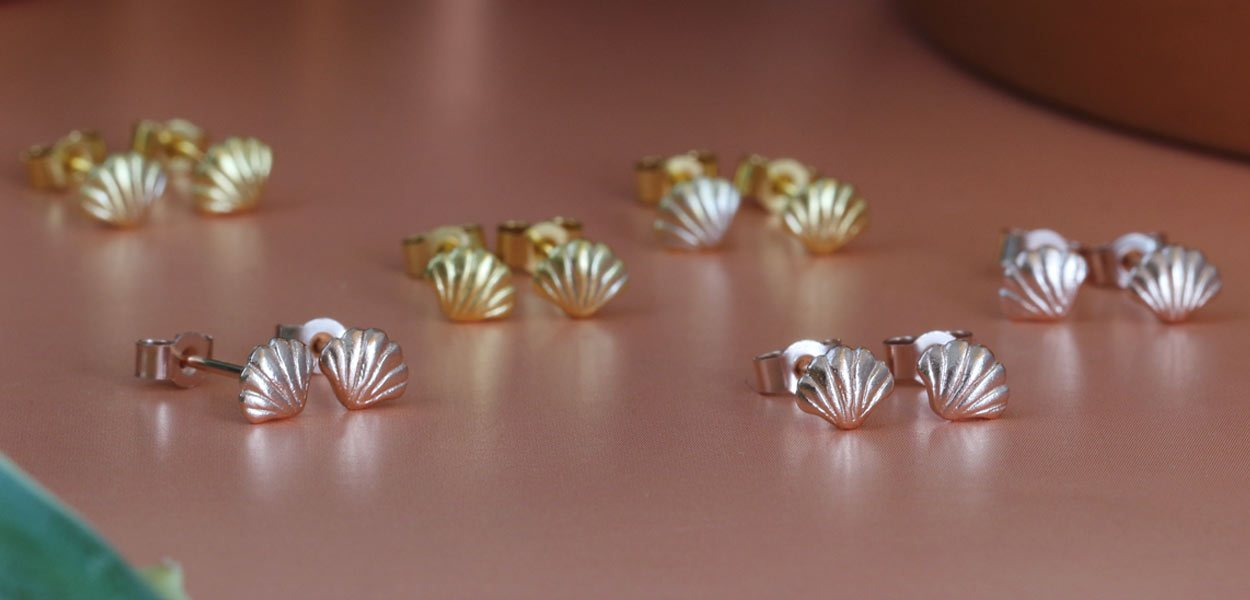 Lovely little rose gold and yellow gold tiny scallop shell handmade stud earrings