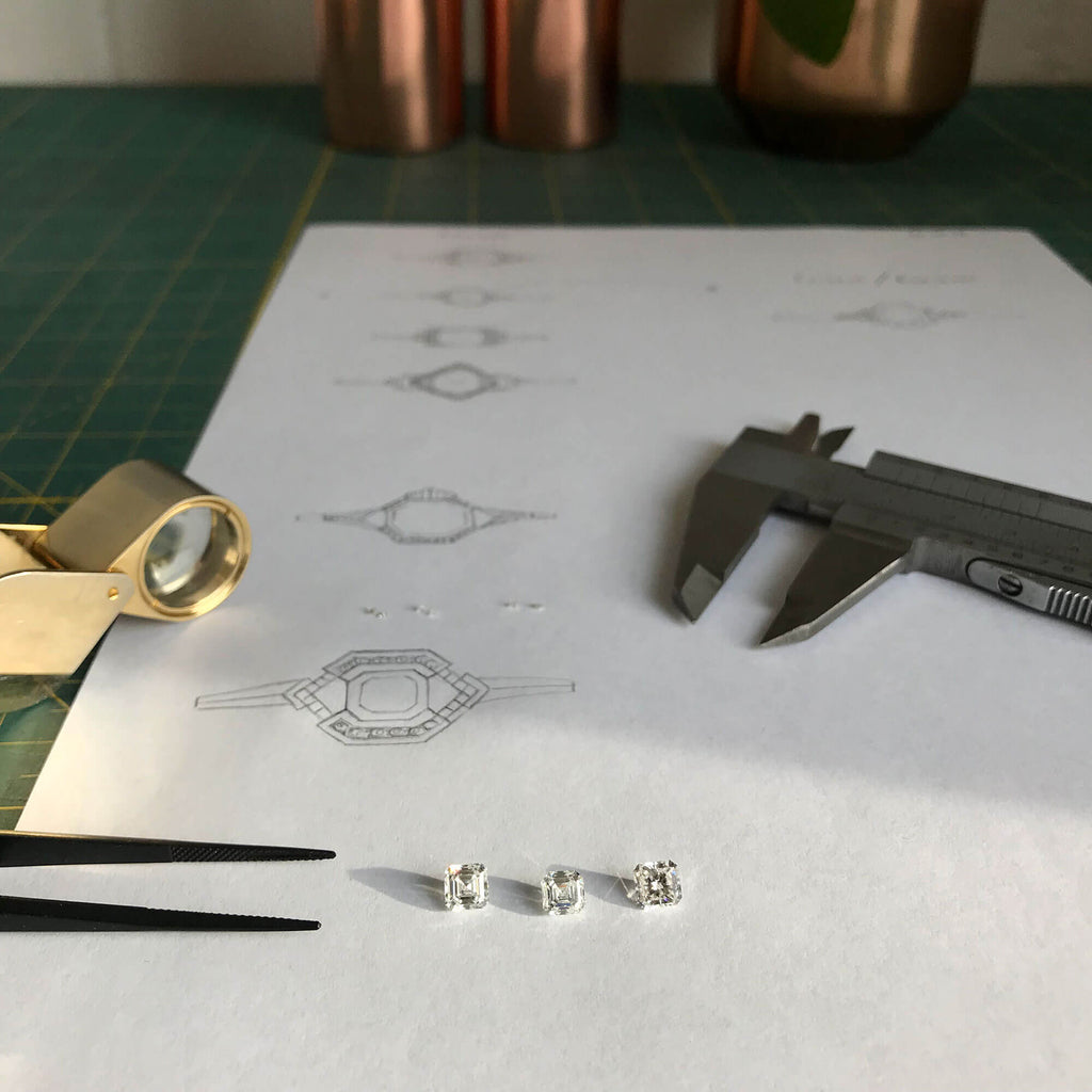 Bespoke engagement ring sketch design process Rosie Kent Jewellery London