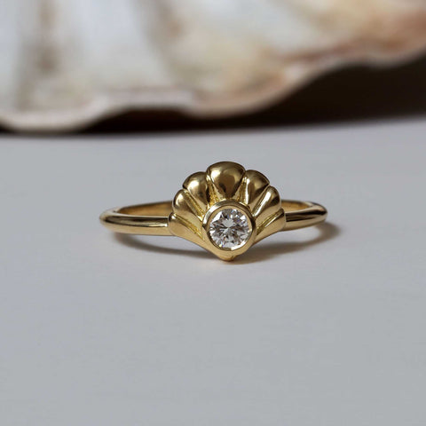 Art Deco Shell Scallop 1920s Engagement Ring