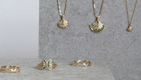9ct yellow gold and green diamonds tiny shell jewellery