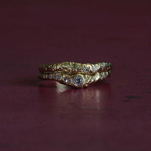 Molten Engagement Ring Wedding Ring Stack