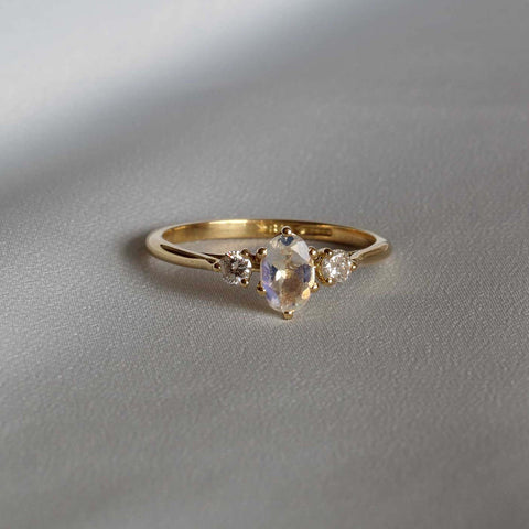 Moonstone Old Cut Diamond Engagement Ring