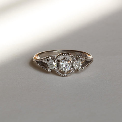 Old Cut Trilogy Diamond Alternative Engagement Ring Antique
