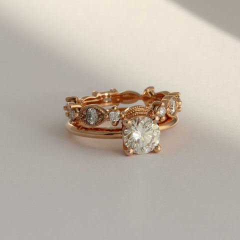 Rose Gold Diamond Engagement Ring Patterned Fitted Wedding Band