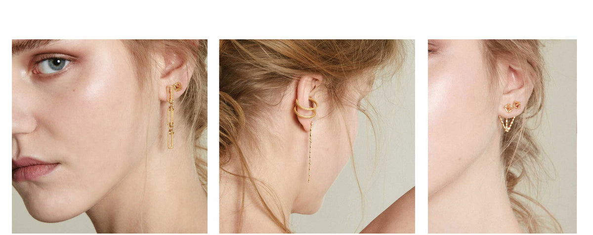 Explore the new range of asymmetric earring styles from Rosie Kent London show with free delivery