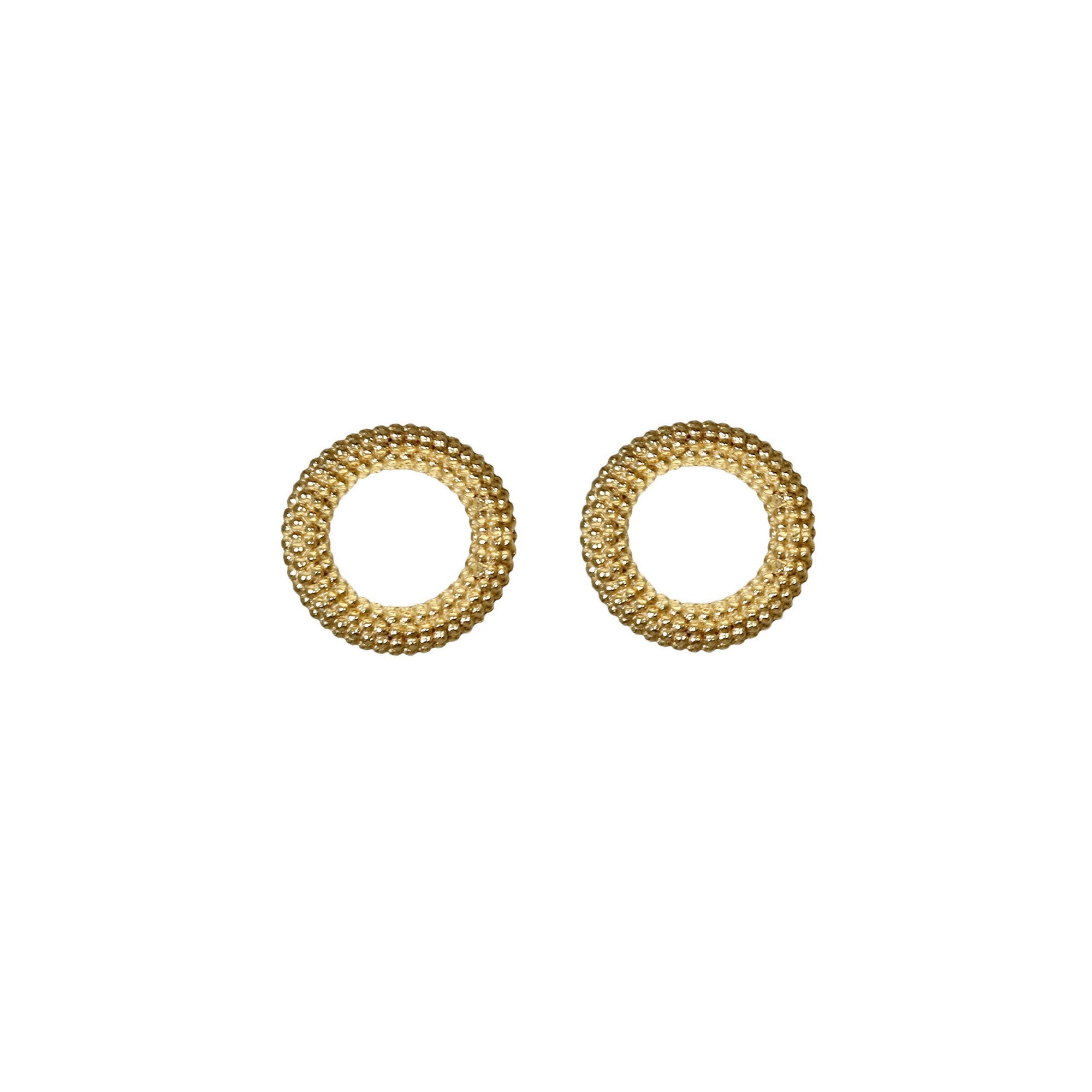 Tyro Yellow Gold Circular Stud Earrings