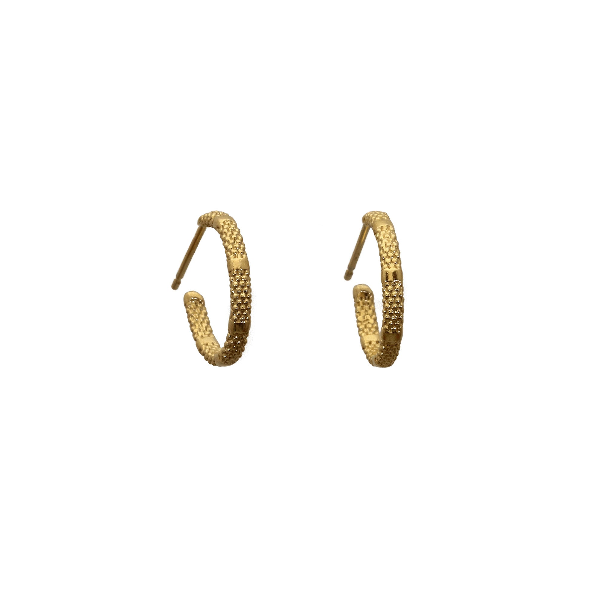 Yellow gold hoop earrings with alternating rough and smooth texture