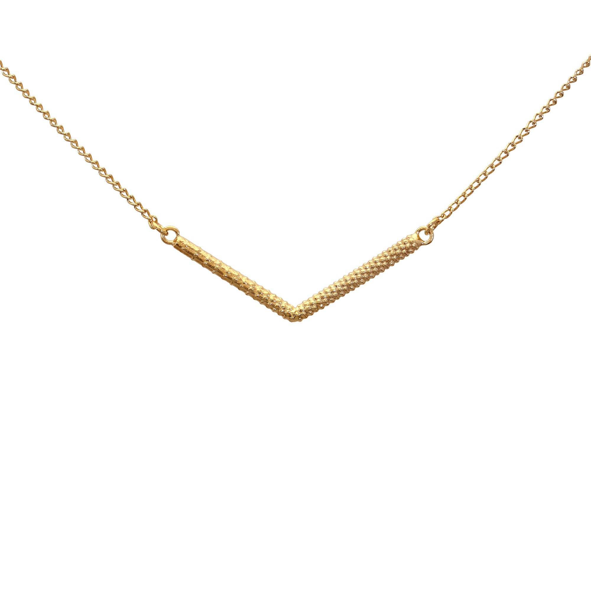 Lava Fork Yellow Gold Necklace